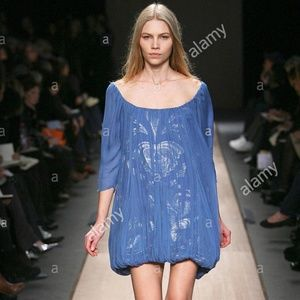New STELLA MCCARTNEY Blue / Silver Silk Dress 42 6